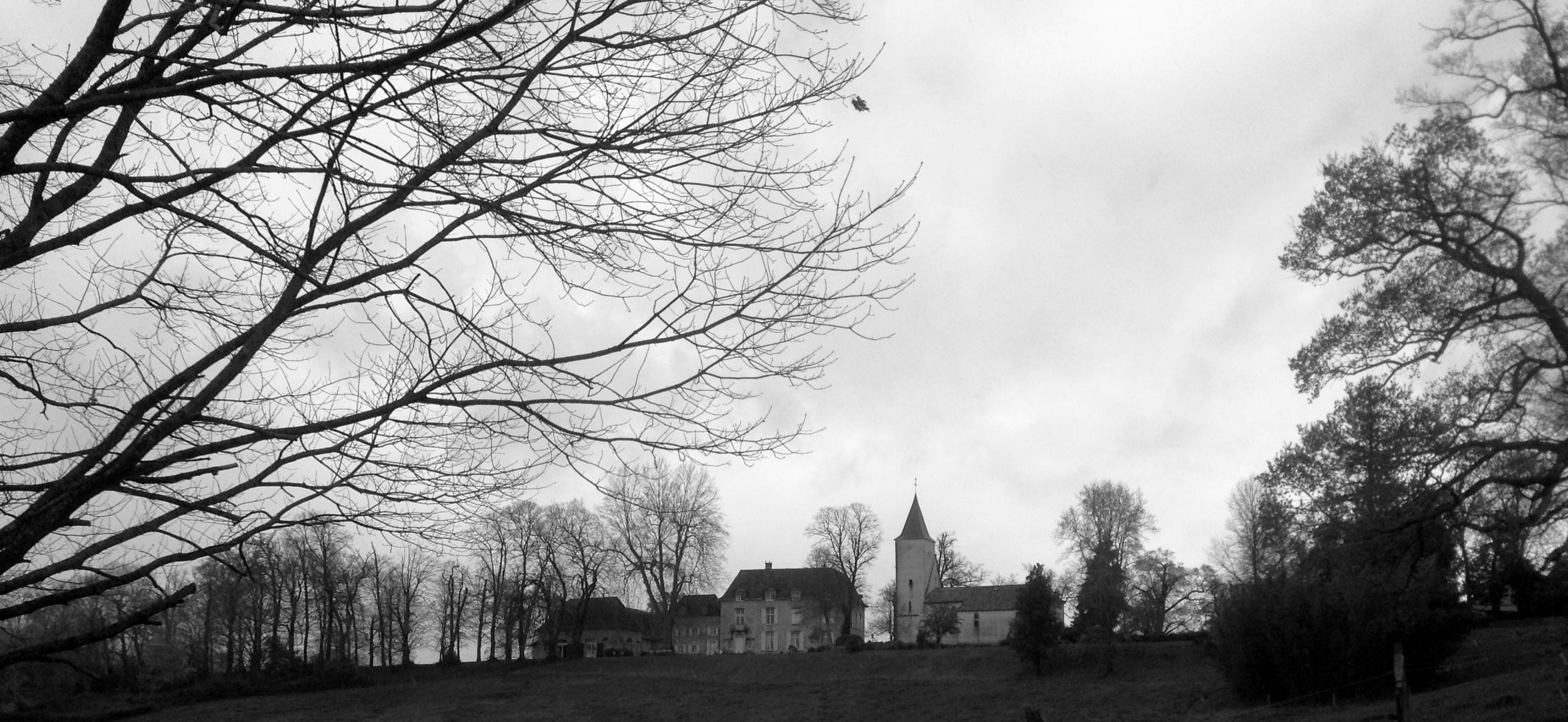 Château d'Orion mit angrenzender Kirche (Region Aquitaine, Frankreich)