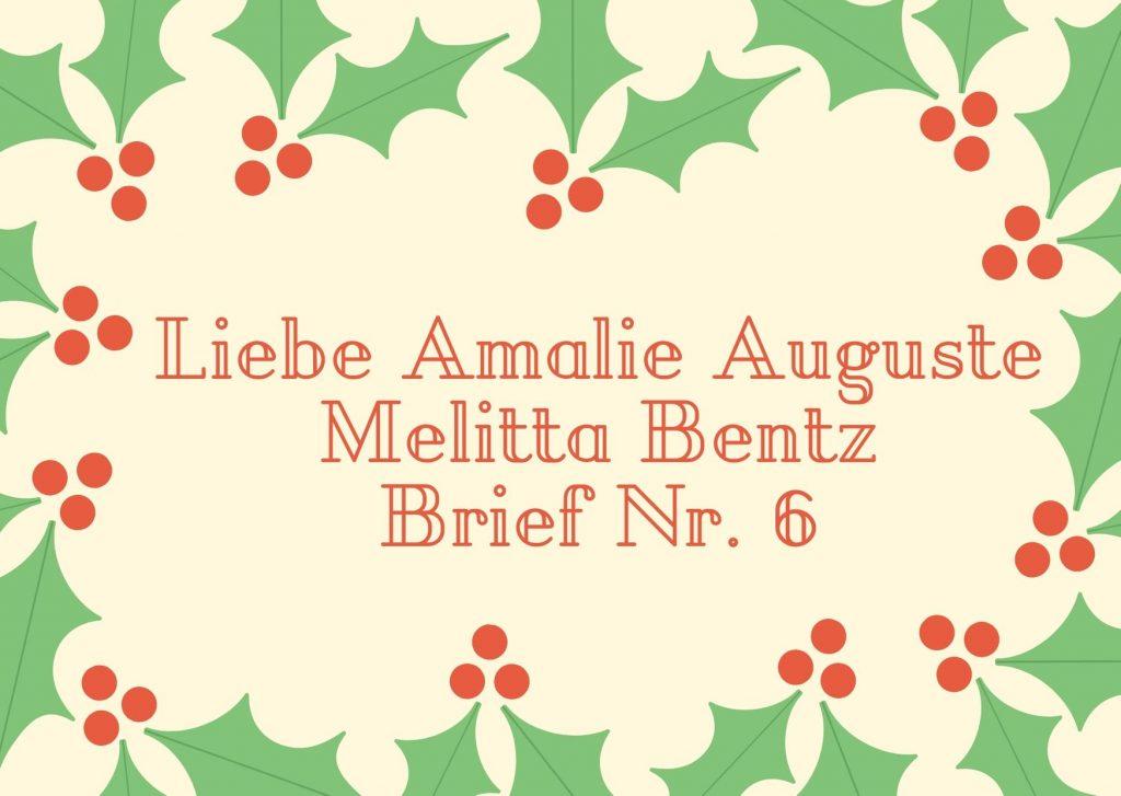 Briefe an berühmte Frauen - Sechster Brief an die Erfinderin des Kaffeefilters - Amalie Auguste Melitta Bentz